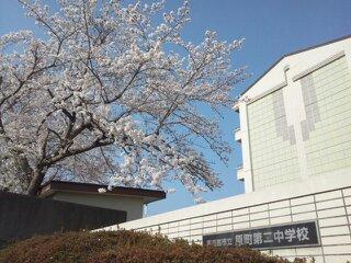 正門の桜と校舎